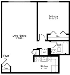 Floor Plan One Bedroom One Bath Medium