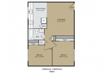 Makai Floor Plan at Reef Apartments, Fresno, CA
