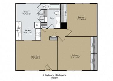 Ingram Floor Plan at Scottsmen Apartments, California, 93612