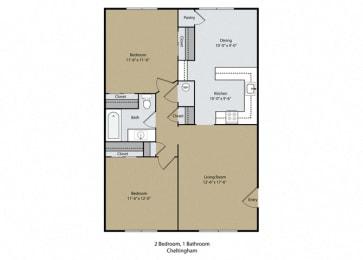 Cheltingham Floor Plan at Scottsmen Too Apartments, California
