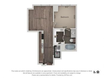 1Bed 1Bath 1B Floorplan at Northshore Austin, Texas