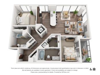 2 Bed 2 Bath 2B Floor Plan at Northshore Austin, Austin, TX, 78701