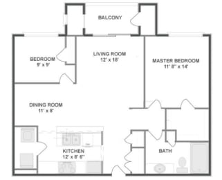 B1 Floor Plan at The MilTon Luxury Apartments, Illinois, 60061