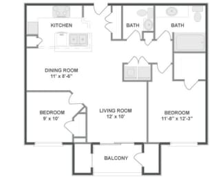 B2 Floor Plan at The MilTon Luxury Apartments, Vernon Hills, IL