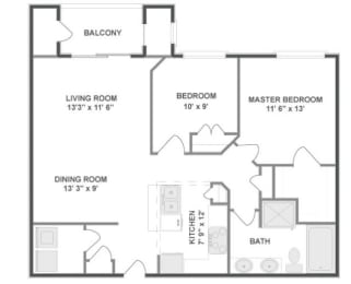 B3 Floor Plan at The MilTon Luxury Apartments, Vernon Hills, 60061