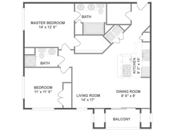 Floor plan at The Mil Ton Luxury Apartments, Vernon Hills, IL