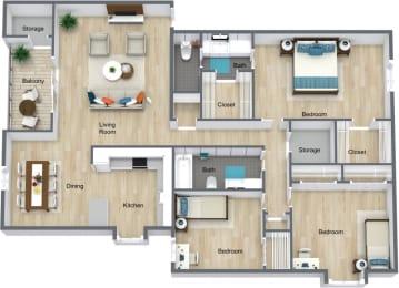 Floor Plan 3 Bedroom 2 Bath, opens a dialog