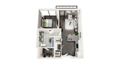 AZB3 1 BEDROOM/1 BATH LARGE Floor Plan at Azure on The Park, Atlanta