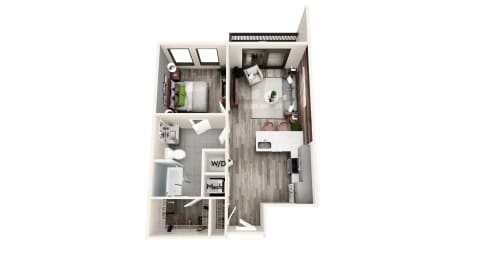 AZB5 1 BEDROOM/1 BATH Floor Plan at Azure on The Park, Atlanta, GA, 30309