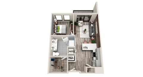 AZB6 1 BEDROOM/1 BATH Floor Plan at Azure on The Park, Atlanta, GA
