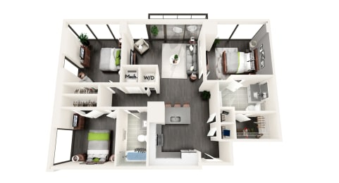 AZD1a 3 BEDROOM/2 BATH Floor Plan at Azure on The Park, Atlanta, GA, 30309