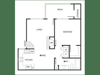 A2 1 Bed 1 Bath Floor Plan at Country Brook Apartments, Arizona, 85226