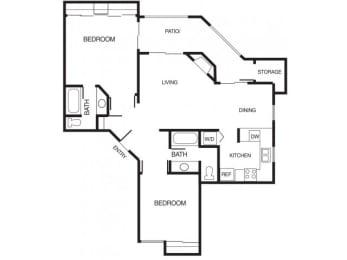 B3 2 Bed 2 Bath Floor Plan at Country Brook Apartments, Chandler, Arizona