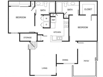 B1 2 Bed 2 Bath Floor Plan at Country Brook Apartments, 4909 West Joshua Blvd, Chandler