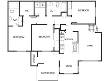 C1 3 Bed 2 Bath Floor Plan at Country Brook Apartments, Chandler, 85226