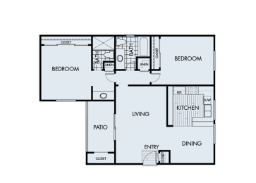 2 Bed 2 Bath 2B Floor Plan at Corte Bella, California
