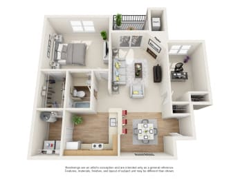 Bayberry Floor Plan 2 bed 1 bath Owings Park Apartments