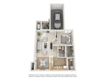 Holly Floor Plan 1 bed 1 bath at Owings Park Apartments