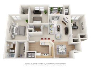Laurel Floor Plan 3 bed 2 bath Owings Park Apartments