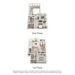 Oak Floor Plan 3 bed 2 bath Owings Park Apartments