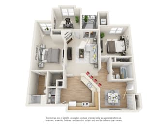 Willow Floor Plan 3 bed 2 bath Owings Park Apartments