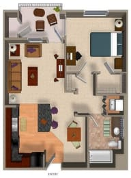 1 Bed - 1 Bath A4 Floor Plan at Carillon Apartment Homes, California, 91367