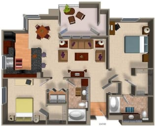 2 Bed - 2 Bath B2 Floor Plan at Carillon Apartment Homes, Woodland Hills, California
