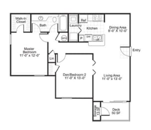 B1 2 Bed 1 Bath Floor Plan at The Watch on Shem Creek, Mt. Pleasant