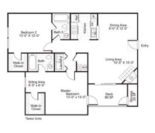 B2 2 Bed 2 Bath Floor Plan at The Watch on Shem Creek, South Carolina