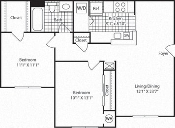 B1A Floor Plan at Westerly at Worldgate, Herndon