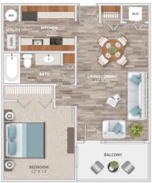 Floor Plan One Bedroom Balcony, opens a dialog