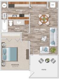 Floor Plan One Bedroom Patio, opens a dialog
