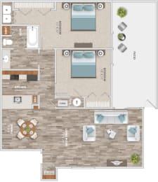 Floor Plan Two Bedroom Patio, opens a dialog