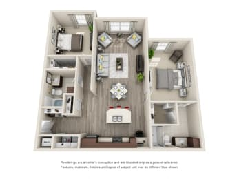 B2 Unit 2BR Floor Plan for Vintage Blackman Apartments in Murfeesboro, Tennessee