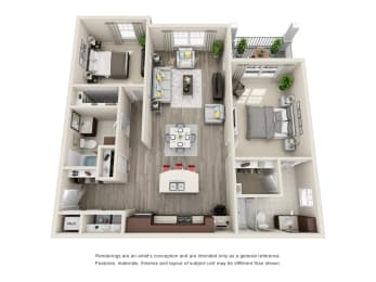 B2A Unit 2BR Floor Plan for Vintage Blackman Apartments in Murfeesboro, Tennessee