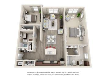 B3 Unit 2BR Floor Plan for Vintage Blackman Apartments in Murfeesboro, Tennessee