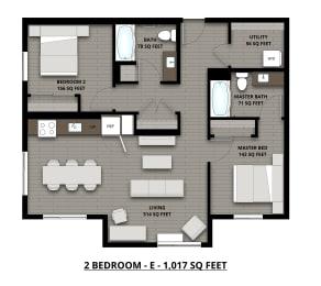 Floor Plan 2Bed 2Bath 1017sf