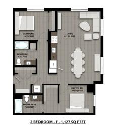 Floor Plan 2Bed 2Bath 1127sf