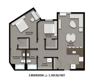 Floor Plan 2Bed 2Bath 1159sf