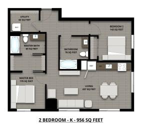 Floor Plan 2Bed 2Bath 956sf