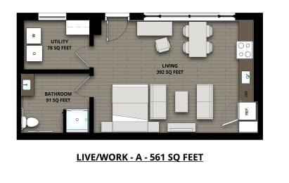 Floor Plan Live/Work Studio 1Bath 561sf