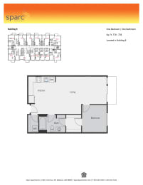 Sparc Apartments 1x1 Building B and C Floor Plan