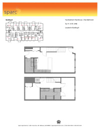Sparc Apartments 2x2 Townhome Floor Plan