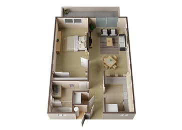 Avondale One Bed One Bath Floor Plan at Carrington Apartments, Fremont, CA