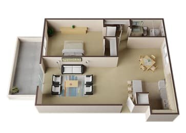 Cambridge One Bed One Bath Floor Plan at Carrington Apartments, Fremont, California