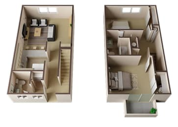 Essex Townhome Two Bedroom Floor Plan at Carrington Apartments, California