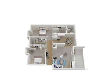 Two Bed Two Bath Floor Plan at Carriage House, Fremont, California