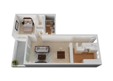 One Bed One Bath Floor Plan at The Monterey , California, 95117