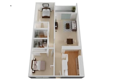 Two Bed Two Bath Floor Plan at The Monterey , San Jose, CA, 95117