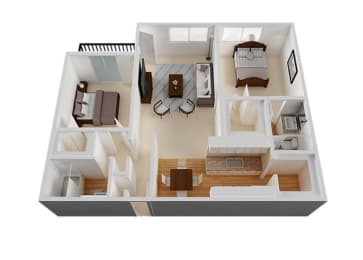 Two Bed Two Bath Floor Plan at The Monterey , San Jose, CA